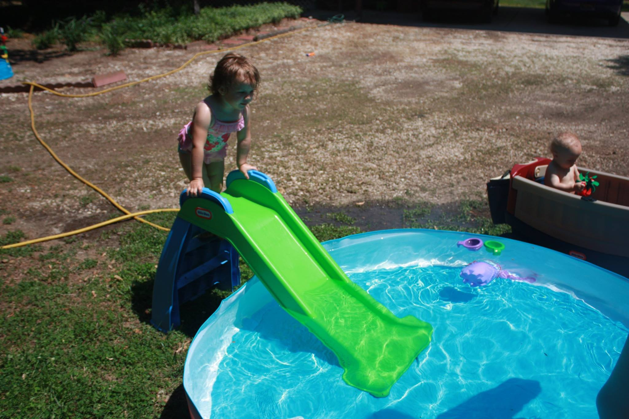 We Decided To Add The Slide For Even More Fun. The Baby Was Happy Just  Dipping His Feet In The Pool And Playing With The Toys. The Whole Family  Had A Very ...